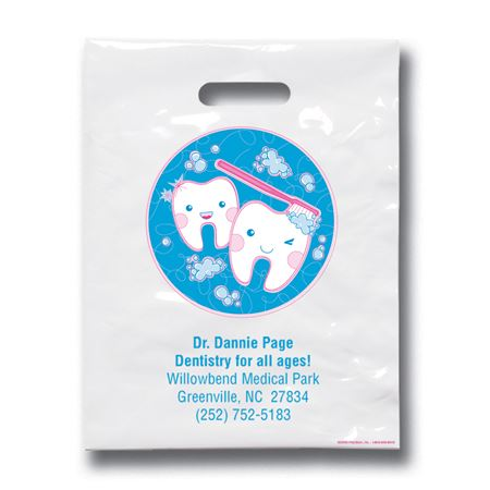 7 3/4 X 9 Kawaii Tooth Patient Care Bags - Bulk 500/Pack