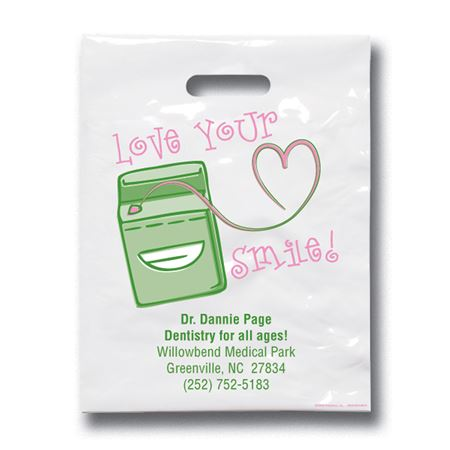 7 3/4 X 9 Love Your Smile Patient Care Bags - Bulk 500/Pack