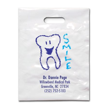 9 X 12 Smile Tooth Patient Care Bags - Bulk