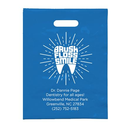 7 3/4 X 9 Personalized Brush Floss Smile F Patient Care Bags - Bulk