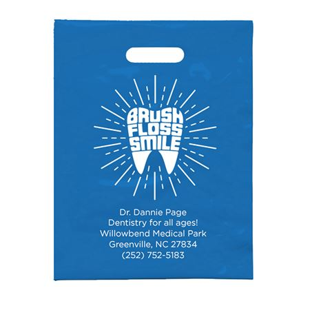 9 X 12 Personalized Brush Floss Smile F Patient Care Bags - Bulk