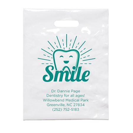 9 X 12 Personalized Smile Shine Patient Care Bags - Bulk