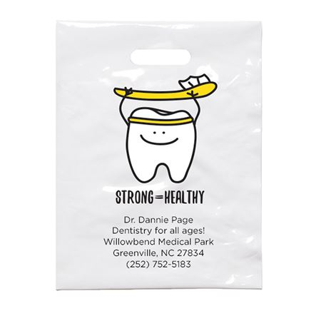 9 X 12 Personalized Strong Healthy Tooth Patient Care Bags - Bulk 500/Pack