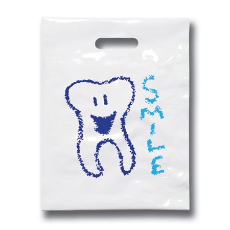 9 X 12 Smile Tooth Patient Care Bags - Bulk 100/Pack