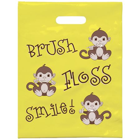 7 3/4 X 9 Brush Floss Smile Monkey Patient Care Bags - Bulk