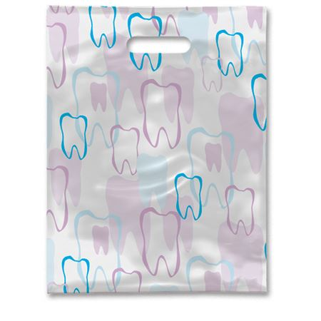 9 X 12 Scatter Print Tooth Outline Bags - Bulk