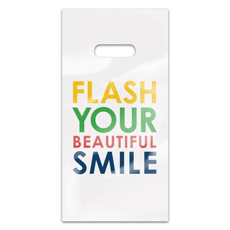 Flash Your Beautiful Smile 6 x 12 Four-color Patient Care Bags - 100 Pack