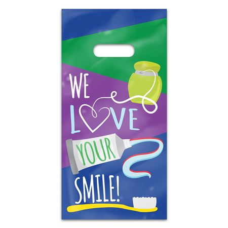 We Love Your Smile 6 x 12 Four-color Patient Care Bags - 100 Pack