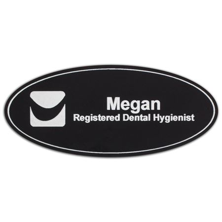 Oval Black Logo Name Badge
