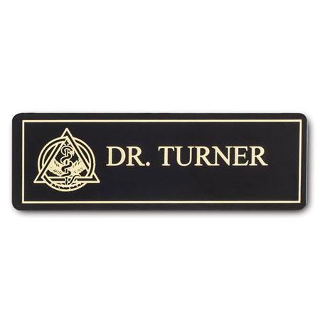 Trimmed Black Name Tag