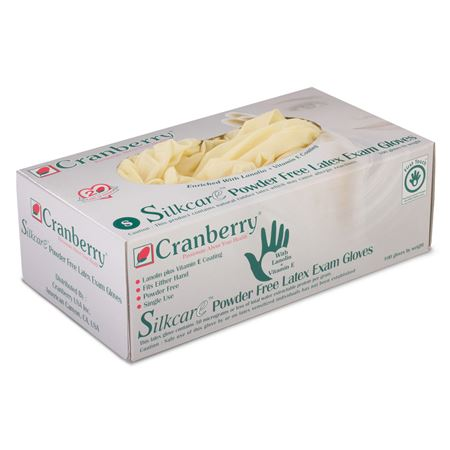 Cranberry Silkcare Powder-Free Latex Exam Gloves With Lanolin And Vitamin E