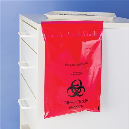 9 X 10 Red Stick-On Infectious Waste Bags