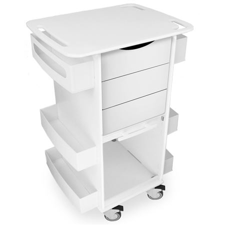 Core Three Drawer Cart with Sliding Door