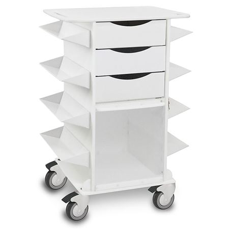 Eight Side Bin Three Drawer Cart