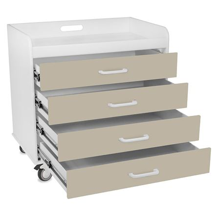 Extra Wide Compact Four Drawer Cart
