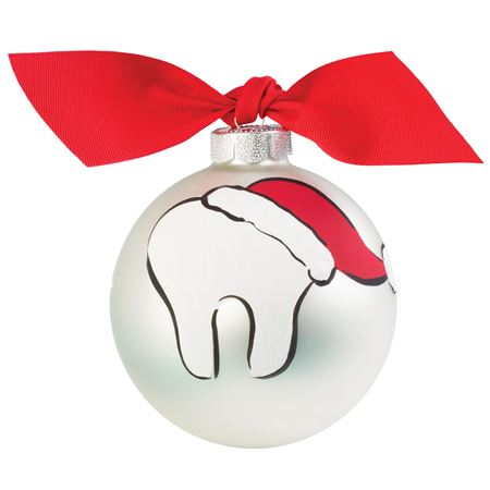 Hand-Painted Molar With Santa Hat Ornament