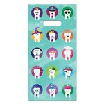 Character Teeth 6 x 12 Four-color Patient Care Bags - 100 Pack