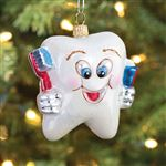Happy Tooth Glass Ornament
