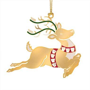 26th Annual Reindeer Brass Ornament